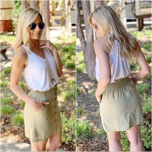 khaki linen button up skirt